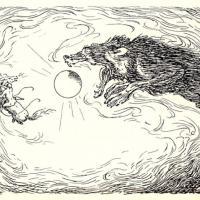 Le loup Sköll avalant le soleil durant les Ragnarök - Illustration: Louis Moe
