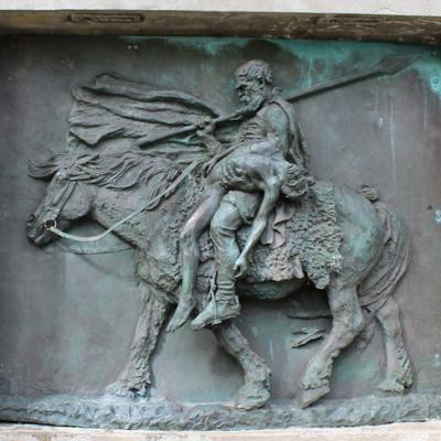 Le scalde guerrier et guérisseur, Egill Skallagrímsson, sculpture de Marie Carl Nielsen (1963) à Borgarnes dans le parc public Skallagrímsgarður (Islande)