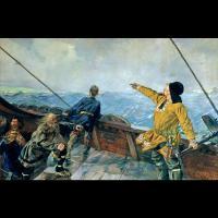 Leif eirikson découvrant l' Amérique par Christian Krohg