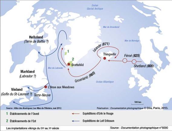 Les implantations vikings du IXe au Xe siecle large carte