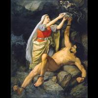 Loki et Sigyn - Illustration: Mårten Eskil Winge