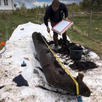 Norvège - La barque découverte à Froland pourrait dater de l'Âge Viking - Photo: Yvonne F. Willumsen