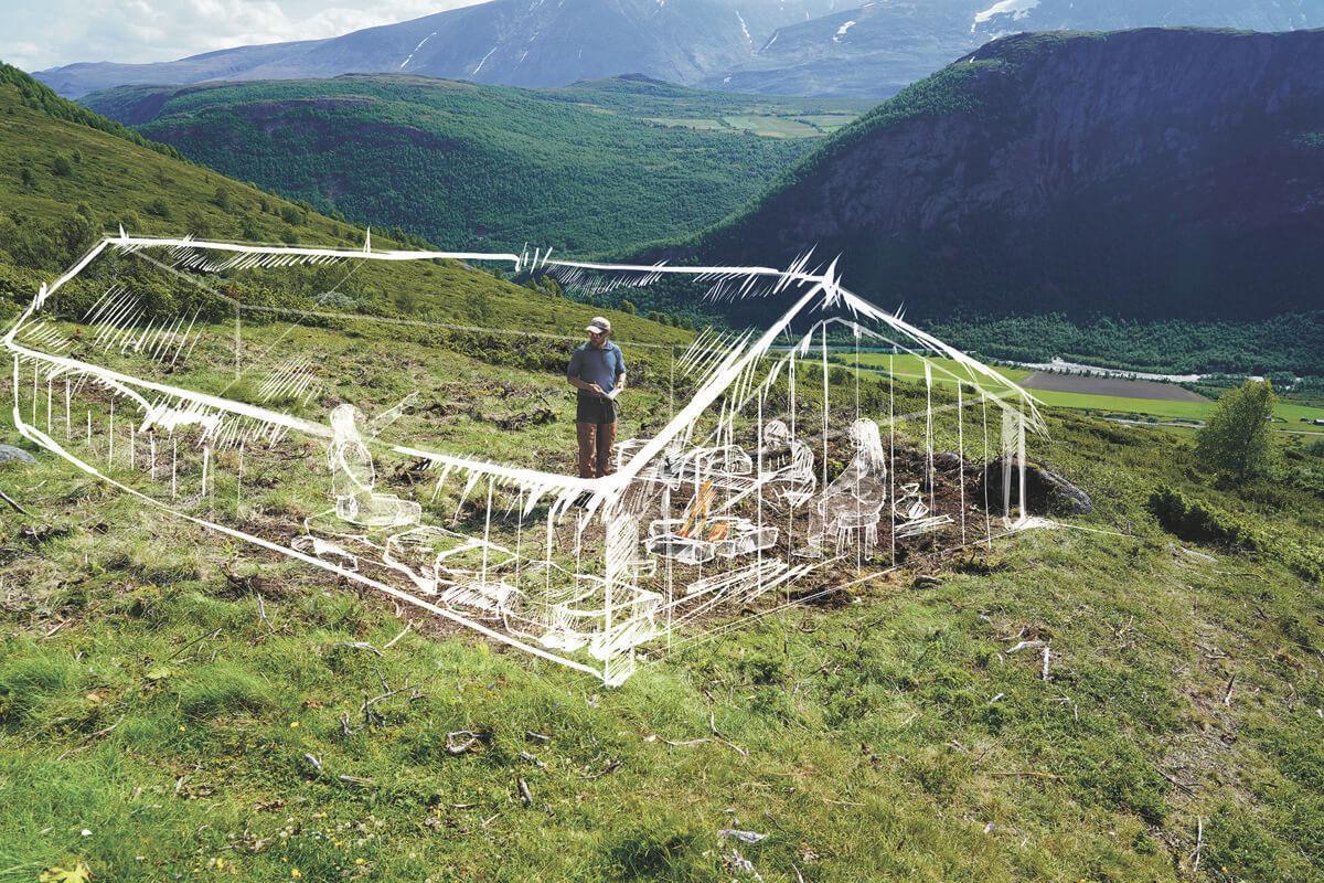 Norvège - Reconstitution de l'une des maisons datant de l'Âge Viking dans le hameau de Neto - Illustration: Espen Finstad et Hege Vatnaland