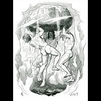 Odin, Vili et Vé créent le monde à partir du corps d'Ymir - Illustration: Lorenz Frølich