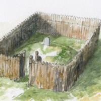 Pologne - Reconstitution illustrée du mausolée de Bodzia - Image: W. Filipowiak