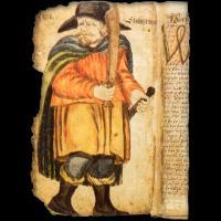 Portrait d'Egill Skallagrímsson dans un manuscrit de l'Egils Saga du XVIIème siècle