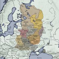 Principautés de la Rus' de Kiev entre 1054 et 1132 - Source: Wikipédia