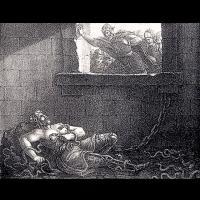 Ragnar Lodbrok jeté par les Anglo-Saxons dans la fosse aux serpents par Hugo Hamilton,1830