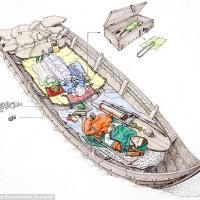 Reconstitution graphique de la sépulture contenant des jeux de société sur l île Sanday
