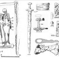 République Tchèque - Représentation de la sépulture du guerrier du château de Prague et de son contenu - Illustration: Cambridge University Press
