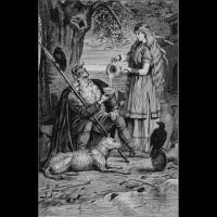 Sága servant à Odin de l'hydromel dans une coupe d'or - Illustration: Jenny Nyström.