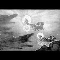 Sol et Mani poursuivis par les loups - Illustration: John Charles Dollman