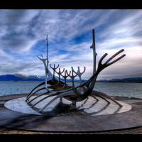Sólfar, le voyageur du soleil - Sculpture de Jón Gunnar Árnason, Reykjavík, Islande