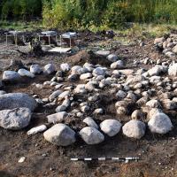 Suède - La tombe d'une défunte reposant sur un lit d'iris des marais à Bådstorp - Photo: Arkeologerna