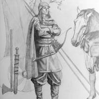 Suède - Représentation de la guerrière de Birka d'après le matériel archéologique de la tombe BJ.581 - Illustration: Tancredi Valeri/ Antiquity