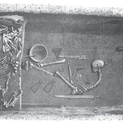 La sépulture Bj 581 d'après le plan originel établi par Hjalmar Stolpe en 1889 - Illustration: Evald Hansen