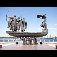 Ukraine - Sculpture des trois frères fondateurs, Kyi, Schek, Horyv, et de leur soeur Lybid, par Vasyliy Boroday à Kiev