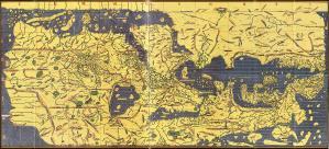 Une copie moderne de la Tabula Rogeriana, avec le nord en bas, dessinée par Muhammad al-Idrisi pour Roger II de Sicile en 1154