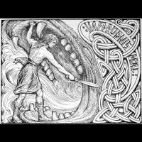 Vidar combat Fenrir - Illustration: W. G. Collingwood